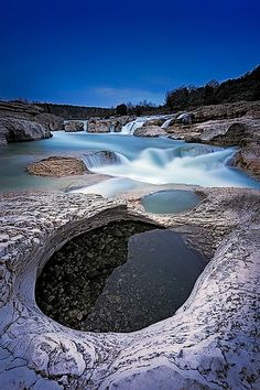Sautadet rapids and waterfall, Cèze River near the the town of La Roque-sur-Cèze, Languedoc-Roussillon Region, France