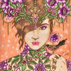 Loved doing this one from daydreams coloring book. Tattoo lady #hannakarlzon