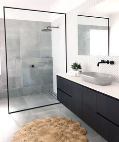 Bathroom inspiration by . Loving the black framed shower screen, contrast of tiles and concrete basin. Bathroom inspiration by . Loving the black framed shower screen, contrast of tiles and concrete basin. Grey Bathroom Tiles, Grey Bathrooms, Bathroom Inspo, Modern Bathroom Design, Bathroom Interior Design, Bathroom Flooring, Bathroom Inspiration, Small Bathroom, Master Bathroom
