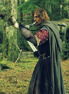 Then Boromir had come leaping through the trees. He had made them fight. He slew many of them and the rest fled. But they had not gone far on the way back when they were attacked again, by a hundred Orcs at least, some of them very large, and they shot a rain of arrows: always at Boromir. Boromir had blown his great horn till the woods rang, and at first the Orcs had been dismayed and had drawn back; but when no answer but the echoes came, they had attacked more fiercely than ever.