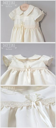 Silk Christening Dress  Baptism Gown Blessing by DOTTIKI on Etsy