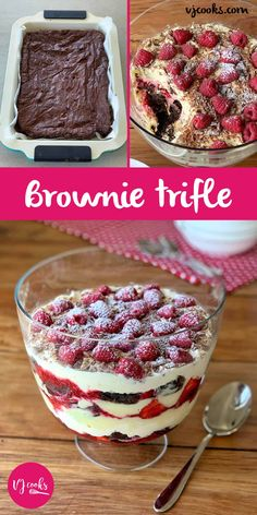 This Christmas trifle is filled with chocolate brownie, raspberry sauce, fresh strawberries, whipped cream, custard and topped with crumbled flake. Trifle Dish, Trifle Desserts, Delicious Desserts, Dessert Recipes, Cold Desserts, Candy Recipes, Christmas Recipes, Yummy Food, Deserts