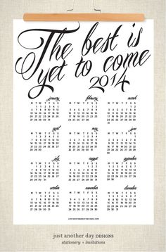 Needed! 2014 Calendar Poster 13x19 Wall Calendar by JustAnotherDay on Etsy, $20.00