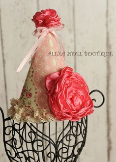 Shabby Chic birthday hat by AlexaNoelBoutique on Etsy, $25.00