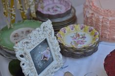 cake plates by jjagner, via Flickr    1st birthday ruffles fabric bunting pink shabby chic vintage highchair