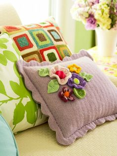 Felted Pillow with Flowers