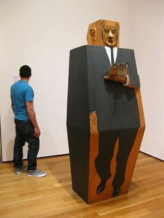 LBJ (1967) Marisol Escobar. Synthetic polymer paint and pencil on wood