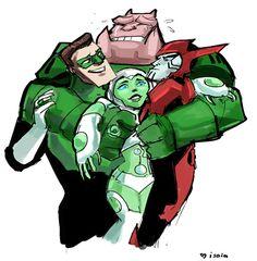 Kilowog,Hal,Razor and Aya