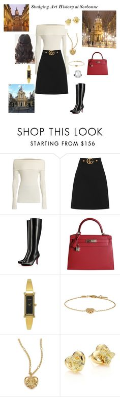 """""""Studying Art History at Sorbonne"""" by hshprincessgebevieve ❤ liked on Polyvore featuring The Row, Gucci, Christian Louboutin, Hermès, contest, royal and royalcontest"""