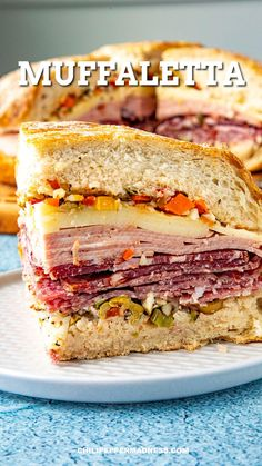 This muffaletta recipe is an authentic sandwich from New Orleans, piled high with Italian meats, cheese, and a homemade spicy olive salad. Great for parties since it feeds a crowd! #lunch #cajunfood Spicy Chicken Recipes, Cajun Recipes, Cooking Recipes, Haitian Recipes, Donut Recipes, Antipasto, Muffaletta Recipe, Breakfast Recipes, Dinner Recipes