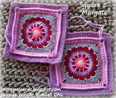 Zooty Owl's Crafty Blog: Seaside Winter Blanket: Margate Afghan Square #5  - Free Crochet Pattern