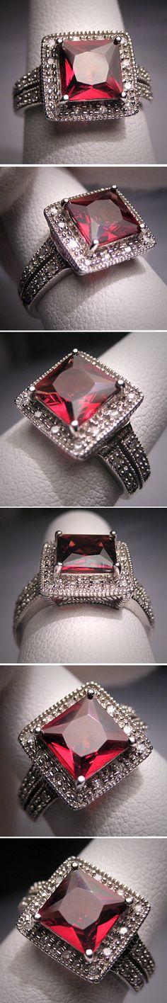 Vintage Garnet Diamond Ring Art Deco Wedding by AawsombleiJewelry