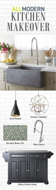 Looking to do a modern kitchen remodel? Find everything you need from farmhouse sinks, faucets, tile backsplash, pendant lighting and more at AllModern. Sign up today to receive access to our exclusive sales plus FREE SHIPPING on all orders over $49