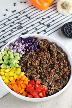 Smokey vegan rice and beans are healthy and satisfying all alone--or combined with veggies in bowls, burritos and enchiladas. Vegan Rice And Beans Recipe, Vegan Bean Recipes, Healthy Dinner Recipes, Mexican Food Recipes, Whole Food Recipes, Shrimp Recipes, Chicken Recipes, Dessert Recipes, Vegan Vegetarian