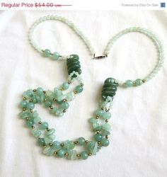 CIJ SALE Vintage Carved Aventurine Polished Stone and Bead Necklace by MyVintageJewels, $47.25