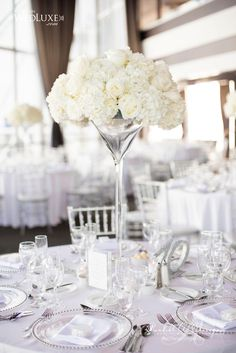 Photo: WHEN HE FOUND HER; Via Wedluxe; Creatively Glamorous Wedding Ideas - white wedding centerpiece.