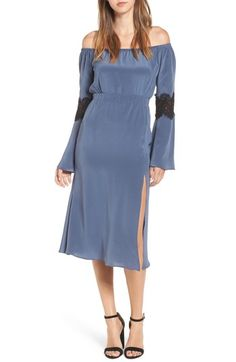 Stone Cold Fox Nicholson Off The Shoulder Dress In Steel Blue Off The Shoulder, Cold Shoulder Dress, Stone Cold Fox, Latest Colour, Gal Meets Glam, Nordstrom Dresses, Dresses For Work, Bridesmaid, Silk