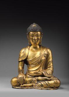 Chine, royaume de Dali, XIIe-XIIIe siècle. Statuette de Bouddha en bronze doré
