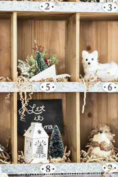 Rustic Farmhouse Style Christmas Cubbie Organizer