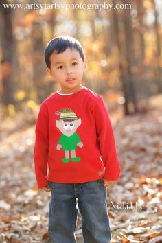 Size 4T Boy Christmas Shirt Elf Applique Personalized by Aidille