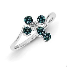 Sterling Silver 1/6 Carat Blue White Diamond Cross Ring Available Exclusively at Gemologica.com