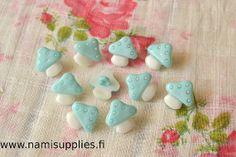 Turquoise Mushroom Buttons - Mushroom Shank Button - 15mm Buttons-https://www.etsy.com/shop/NamiSupplies