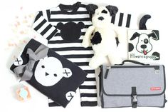 It's a big world out there - time to explore!  Do it in style with the perfect mix of function and style. Wrap up in this gorgeous monochrome bear blanket and matching onesie, designed by the stylish Huxbaby, Australia.  Keep things entertaining with your selection of JellyCat matching soft toy and book. Lastly, we have included the award-winning portable changing station clutch from Skip*Hop. You will just need to add the coffee! -dsc-   Hux Bear Knit Blanket:100% organic cotton, super s...