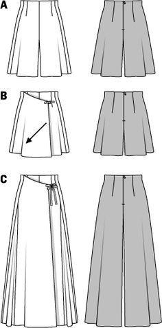 Pattern for Burda Style Pantskirts Burda Patterns, Sewing Patterns Free, Free Sewing, Clothing Patterns, Dress Patterns, Coat Patterns, Sewing Pants, Sewing Clothes, Diy Clothes
