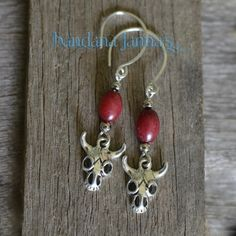 "These cowgirl earrings dangle at 2 inches on silver plated handmade hooks with dark red jade beads.  Please visit & ""like"" me on FaceBook & be notified of Give-Aways!"