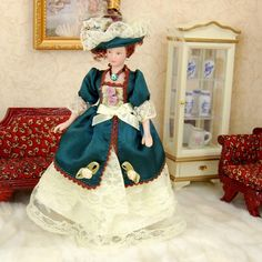 7,71 Dollhouse Miniature Porcelain Dolls 15 cm Victorian Lady in Green Dress with Stand-in Dolls from Toys & Hobbies on Aliexpress.com | Alibaba Group