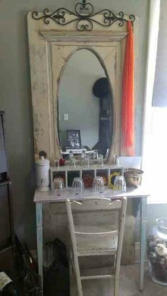 A make up vanity i made out of an old door...