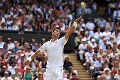 Novak Djokovic prepares to serve
