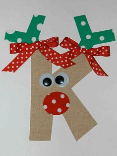 Personalized Monogram Christmas Initial Reindeer Iron On Fabric Applique DIY No Sew You Choose Fabric. $8.00, via Etsy.