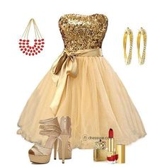 Goin for the gold Dama Dresses, Short Dresses, Prom Dresses, What To Wear Today, How To Wear, Dress Up Closet, Party Dress Outfits, Future Clothes, Dress Images