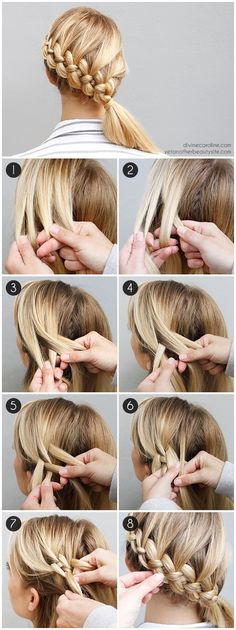 flechtfrisuren selber machen mittellange blonde haare flechten If you liked this pin, click now for more details. New Braided Hairstyles, Diy Hairstyles, Hairstyle Tutorials, Holiday Hairstyles, Hairstyle Ideas, Easy Hairstyle, Hair Ideas, Wedding Hairstyles, Summer Hairstyles