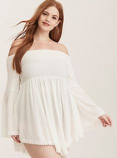 24537baf5e0a3 Plus Size Smocked Gauze Off Shoulder Swim Cover-Up, IVORY Bathing Suit  Cover Up