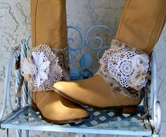 Boho boot accessory boot spats boot cuffs boot by Lifeloveandmusic, $29.00