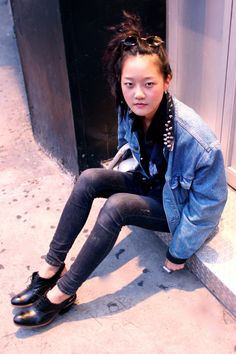 sling backs and oversized denim jacket
