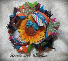 Thanksgiving sunflower hair bow, Fall hair bow, Toddler Thanksgiving hair bow, Girl hair a... $14.99