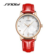 >> Click to Buy << SINOBI 2016 Fashion Classic Analog Quartz Red Band Watch Women Girls Casual Watches Flower Pattern Leather Strap Wristwatch Gift #Affiliate