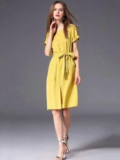 Fashion Pure Color O-Neck Lacing Pocket Slit A-Line Dress