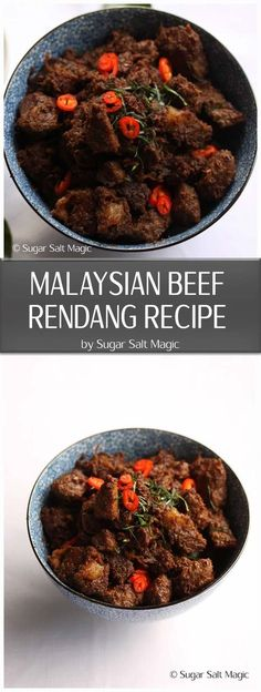 Malaysian Beef Rendang Recipe - Beef Rendang is an extremely popular, and richly flavoured Malaysian coconut beef curry. Curry Recipes, Seafood Recipes, Beef Recipes, Chicken Recipes, Dinner Recipes, Healthy Recipes, Healthy Food, Cooking Recipes, Simple Recipes