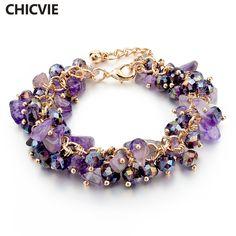 CHICVIE Tím Amethyst Crystal Charm Bracelets & Bangles Với Stones mạ Vàng Vòng Đeo Tay Femme Đối Với Phụ Nữ Jewelry SBR140192