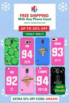 📦 Enjoy TODAY's FREE SHIPPING With Any Phone Case! 📱 Protect your phone with these stylish and useful phone cases ✔Aesthetical appeal ✔Durable ✔Protective ✔Hard Glossy Plastic ✔Tight fitting ✔Available for: iPhone & Android ⚠️ SALE ENDS in 24 HOURS!  CLICK Image to get yours!  #freeshippingday #freeshipping #kpopphonecase #btsphonecase #btsmerch #btsmerchandise