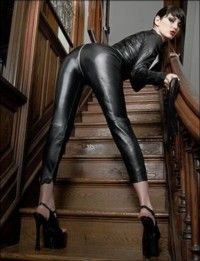 Skin-Tight Leather Catsuit