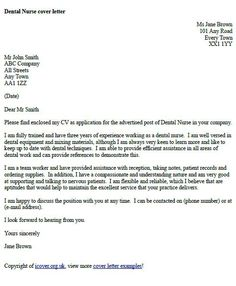 dental nurse cover letter example - Writing A Covering Letter Uk