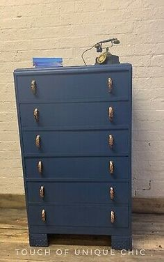 Vintage Tallboy Chest of drawers Blue Painted Shabby Chic Upcycled  | eBay