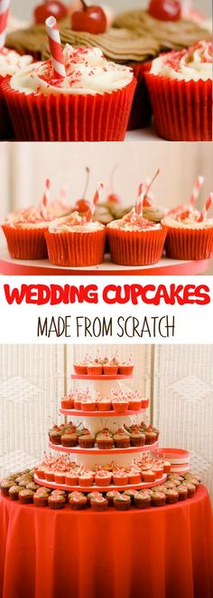 If you're looking for wedding cupcakes ideas, these wedding cupcakes made from scratch are definitely worth a try! It's Piña Colada cupcakes and cherry Coke cupcakes, both delicious sweet cupcakes! For more simple baking desserts recipes and homemade sweet treats, check us out at #cupcakeproject. #desserts #yummydesserts #recipeoftheday #sweettooth