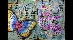 Art Journal Page 108 This is one of those pages where I think I added the wrong focal image. I loved how the distress inks turned out but would have loved it without the black stencil and circles. I think the butterfly and title would have stood out better without the black in the background. Oh well, I've learned something new today LOL