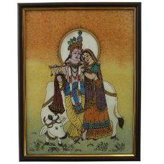 Radha Krishna Gemstone Painting Frame By Little India